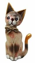 Balinese Wood Handicrafts Adorable Feline Cat With Rope Ribbon Tie Figurine - $23.99