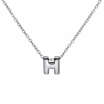 """Silver H Pendant Necklace, 925 Sterling Silver """"H"""" Initial Letter Charm ... - $17.50"""