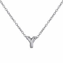 """Silver Y Pendant Necklace, 925 Sterling Silver """"Y"""" Initial Letter Charm ... - $17.50"""