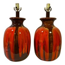 Pair Mid Century Orange Brown Drip Glaze Lamps - $2,900.00