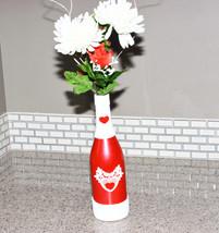 Red Heart Wine Bottle Decor White Trim Gift Handmade Valentines Love Hom... - $20.00