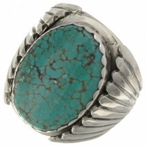 NAVAJO Handmade Genuine Spiderweb Turquoise Men's Ring Sterling Size 9 t... - $229.00