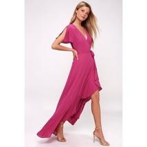 Lulu's Magenta Wrap Maxi Dress Size S    - $29.99