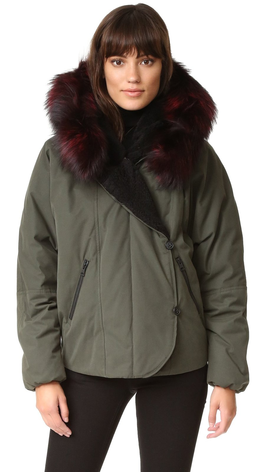 Soia & Kyo Women's Madelyn Parka with Fur, Moss, Small