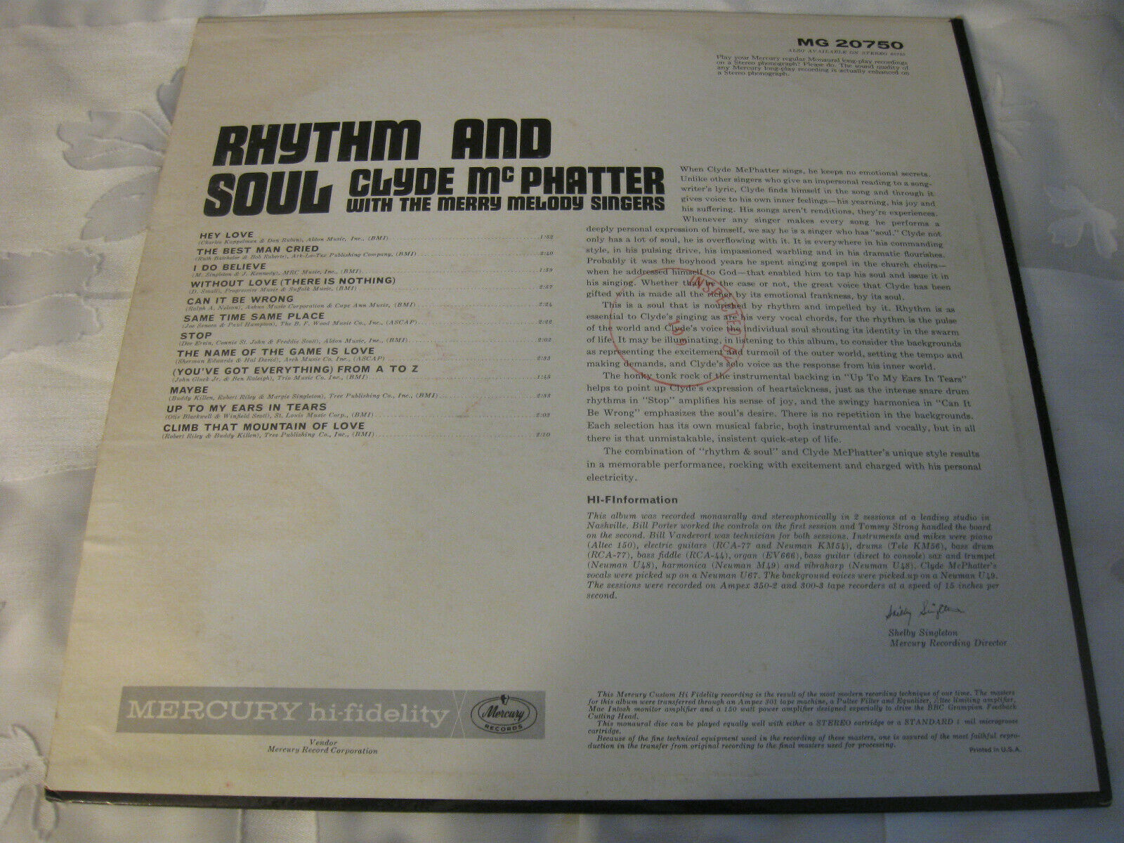 Clyde McPhatter Rhythm And Soul Mercury MG 20750 Mono LP Vinyl Record Album image 2