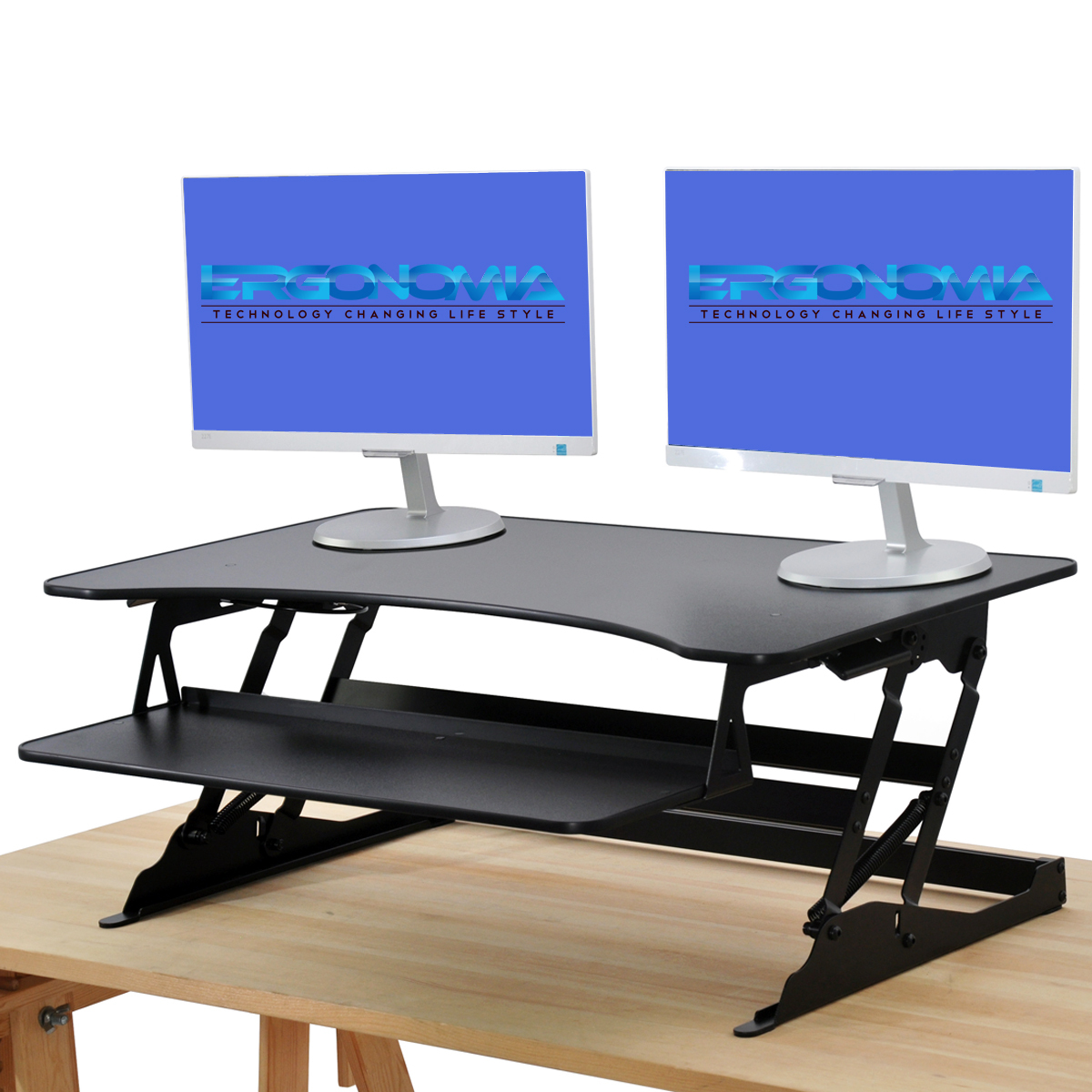 New Black 37 Wide Height Adjustable Standing Desk Sit To