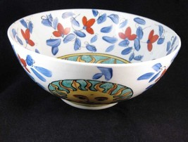 Vintage Chinese Hand Painted Sun Design Serving Bowl Cobalt Red Flowers - $29.00