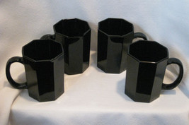 Black Octagon Shaped Glass Mugs Made In France Set Of 4 - $22.00