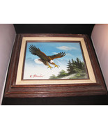W. Amadio Eagle Oil Painting On Canvas Framed S... - $35.50