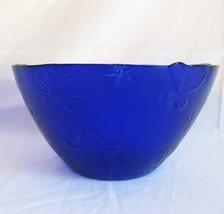 Cobalt Blue Glass Huge Serving Bowl Insect Bug Designs Textured - $38.00