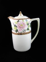Antique Nippon Chocolate Coffee Pot Lotus Flowers Green Crown 1920's - $89.00