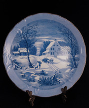 Currier & Ives Winter Homestead Blue & White Co... - $8.00