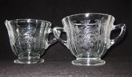Federal Glass Madrid Creamer & Sugar Bowl Clear Reproduction - $6.00