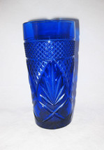 Cris D' Arques Durand Antique Sapphire Blue Tumbler Glass/Cooler - $12.00