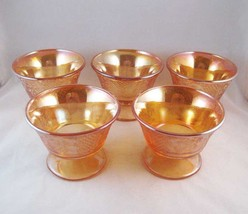 Federal Carnival Glass Champagne/Tall Sherbet Dishes(5) Normandie Circa ... - $25.00