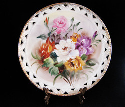 Hand Painted Ucagco Japan Ceramic Floral Plate Signed - $11.00