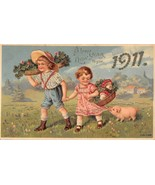 Boy girl pig gold gilt 1910 new years postcard ny25 - $7.66