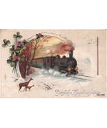 locomotive deer new years postcard 1921 E. A. Schwerdtfeger & Co  ny43 - $9.45