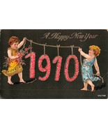 gold glit ibabies holding 1910 new years postcard gelatin  otto schloss ... - $9.45