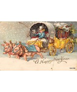 GEL GOLD GILT GOOD LUCK PIGS PULLING WAGON  new years postcard ny1 - $9.45