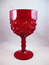 Viking Glass Yesteryear Bullseye Ruby Red Compote Goblet Circa 1960's - $25.00