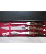 Vintage Carving & Knife Set Faux Stag Horn Stai... - $35.00