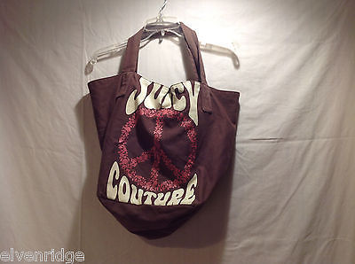 Juicy Couture Brown 100% Cotton Tote Bag Handbag Peace Sign Magnetic Clasp Lined