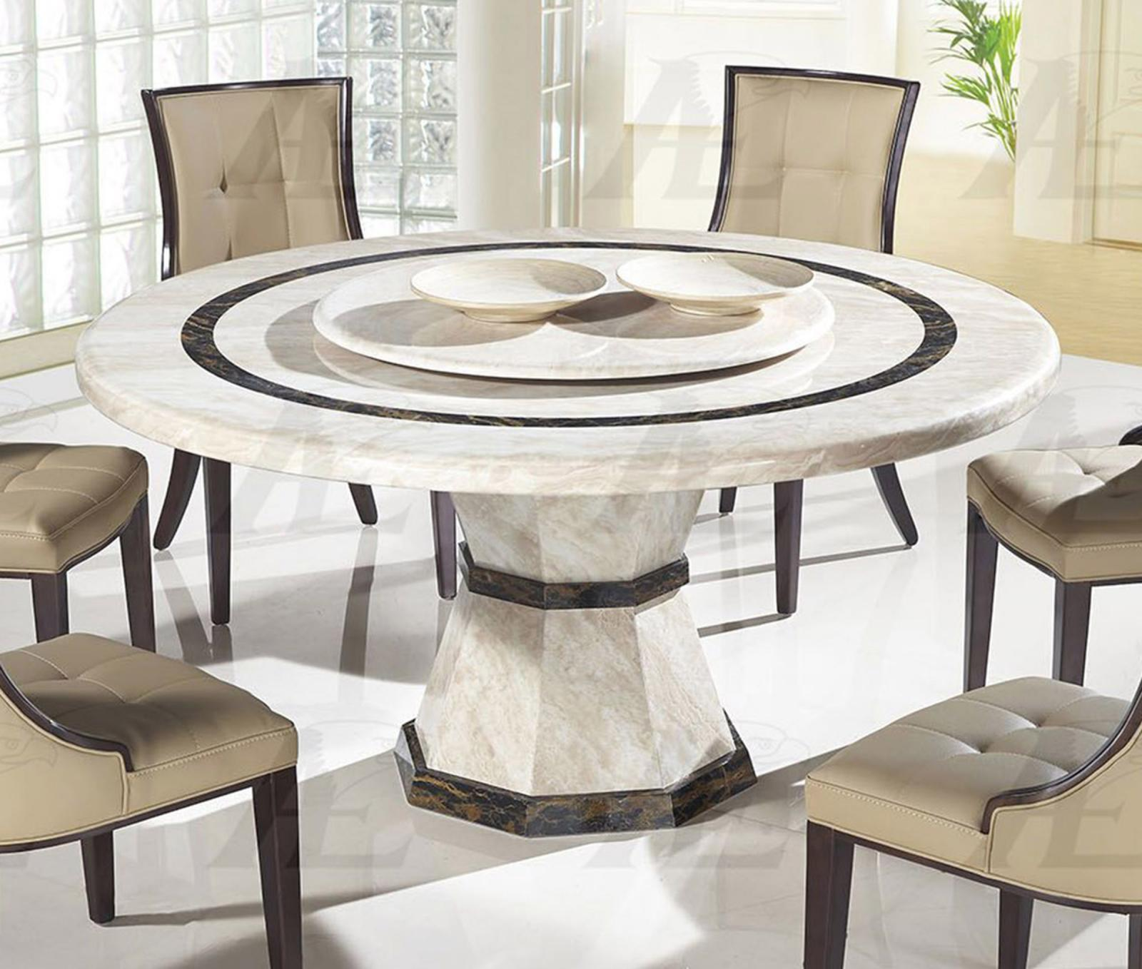 American eagle dt h38 beige marble top round dining table for Round stone top dining table