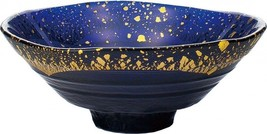 NEW Japanese Gold Leaf Glass Bowl Dark Blue Made In Japan - $79.73