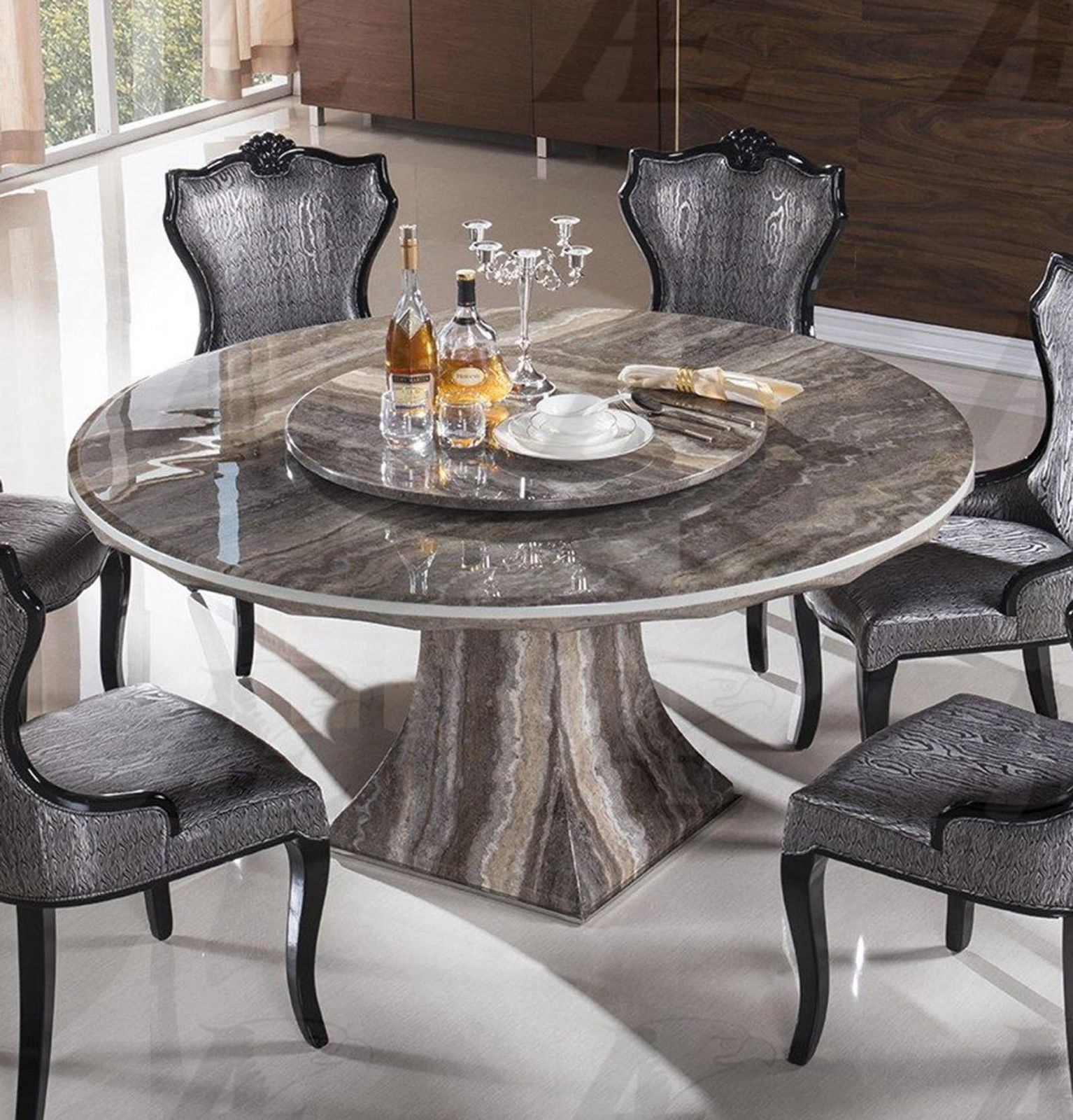 American eagle dt h36 black marble top round dining table for Round stone top dining table