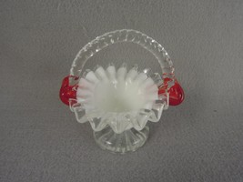 Glass Basket White Red Clear applied Twisted Handle - $21.60