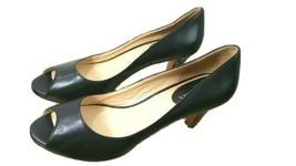 Cole Haan Peep Toe Pumps size 10 B Black Leather shoes - $25.73