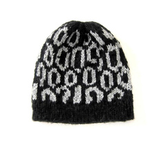 Beanie Hat, black & white, made of Alpacawool, One Size - $30.60