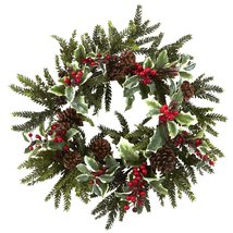 Nearly Natural 4941 Holly Berry Wreath, 22-Inch... - $71.99