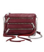 REBECCA MINKOFF 5-ZIP PORT WINE LEATHER CROSSBO... - $156.80