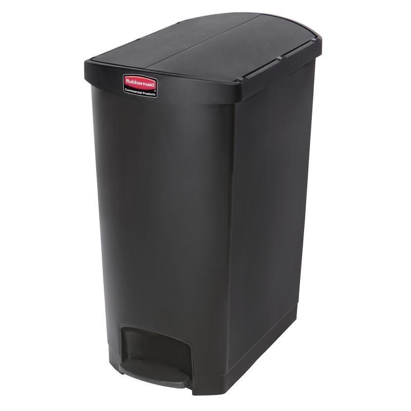 Rubbermaid Slim Jim End Step On Pedal Bin Black 90ltr Commercial Kitchen Cafe Trash Cans