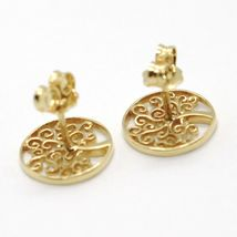 STUD EARRINGS YELLOW GOLD 750 18K, TREE OF LIFE, MADE IN ITALY image 3