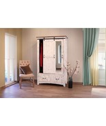White Eliza Sliding Barn Door Armoire - Solid Wood - Quality - Rustic - $1,361.25