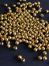 50 pcs Gold Plated Metal Bead Round 3.2mm for Jewelry Design Finding - $2.92