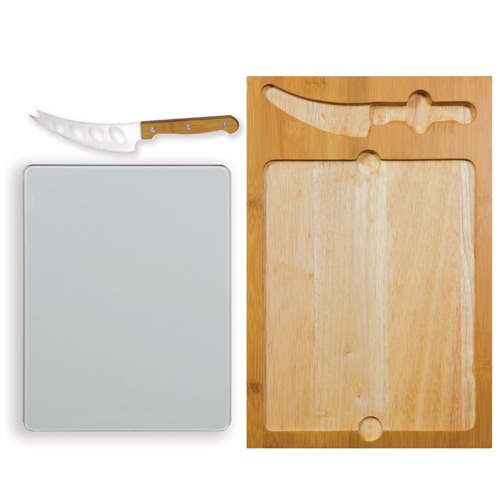 Icon - Glass Top Cutting Board w/ Cheese Knife