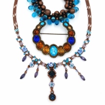 Cookie Lee Rhinestone Necklace with Tierra Art Glass Bracelet and Pin - $42.00