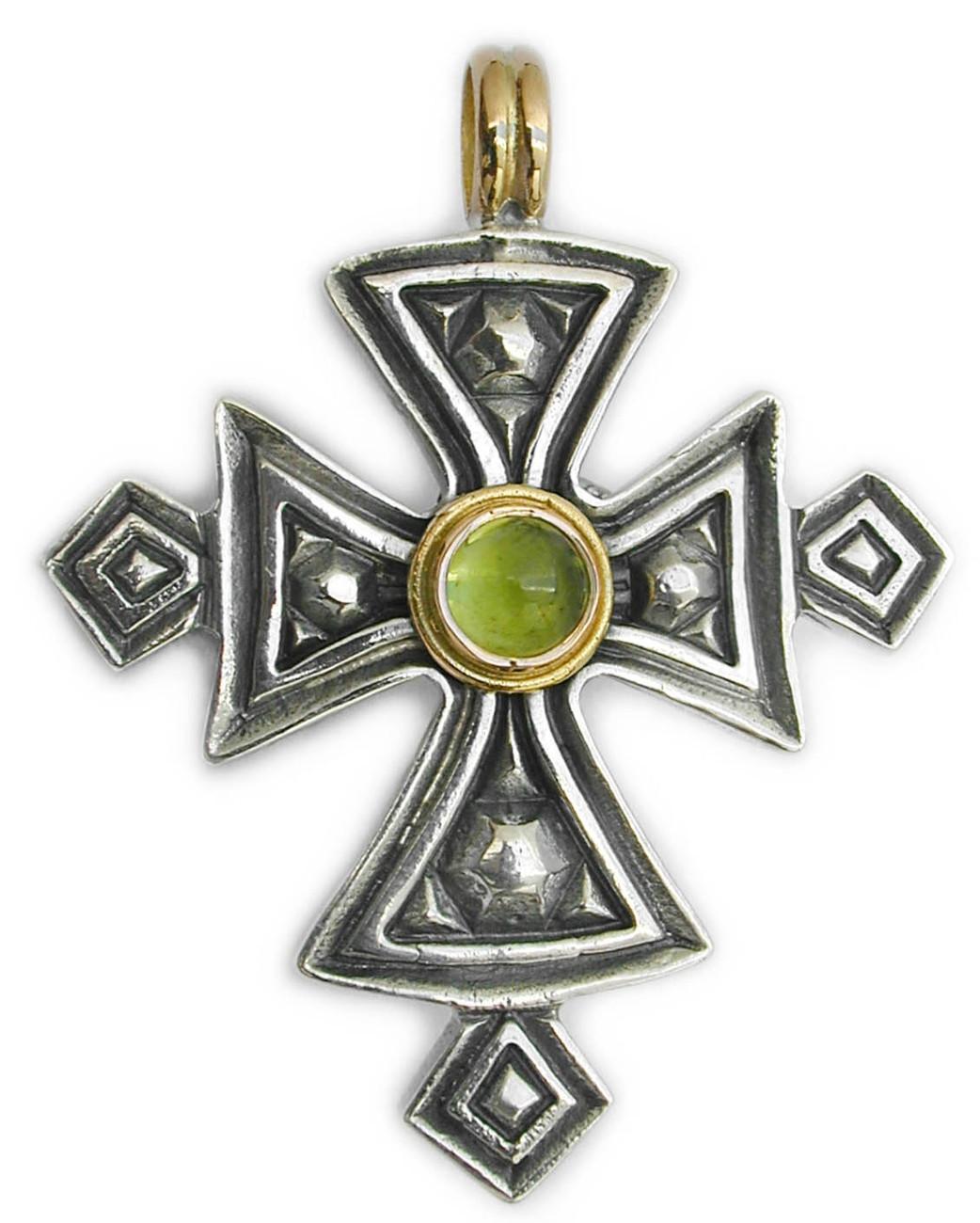 02005053 gerochristo 5053 silver gold peridot coptic cross 1