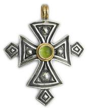 Gerochristo 5053 -  Solid 18K Gold, Silver & Peridot  Coptic Cross Pend... - $615.00