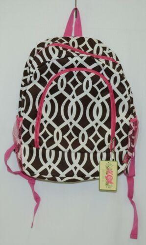NGIL BIQ403BR Brown White Pink Canvas Backpack Geometric Design