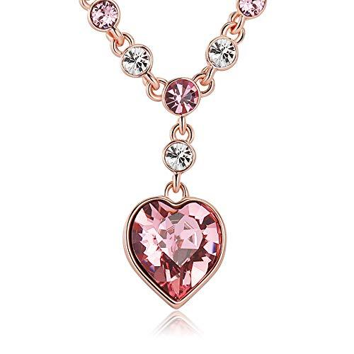 XZP Women Jewelry Heart Necklace With Austria Pink Crystal