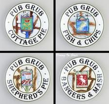 Complete Set of 4 Pub Grub Snack Plates (8'), M... - $16.40