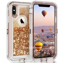 iPhone XS X5.8 Case Defender liquid glitter Gold color fit Otterbox Clip - $7.42