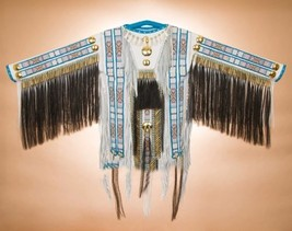 Authentic Native American Indian White ELK Hide Double Beaded WAR SHIRT ... - $2,389.00