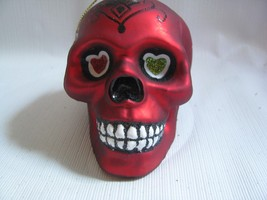 Glass Sugar Skull HALLOWEEN Day of the Dead Ornament  Red black decorated - $11.83