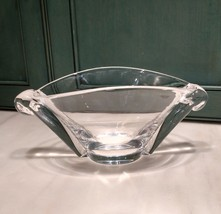 Vintage Steuben Crystal Oval Art Bowl Scroll Snail Handles George Thompson - $145.00